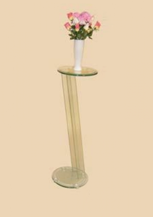 36 Inch Glass Angled Pedestal Round Top Table - Chintaly Imports