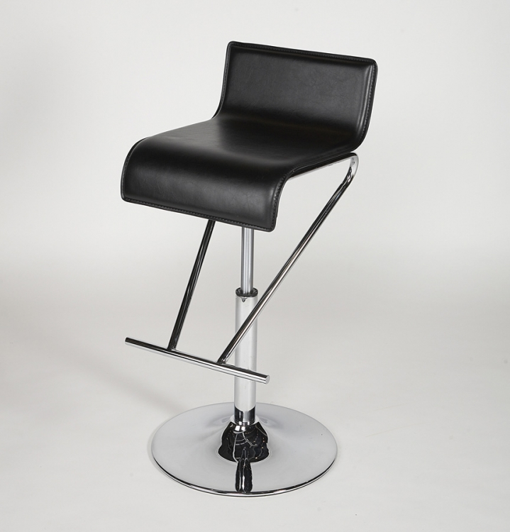 6122 Adjustable Height Swivel Stool - Black - Chintaly Imports