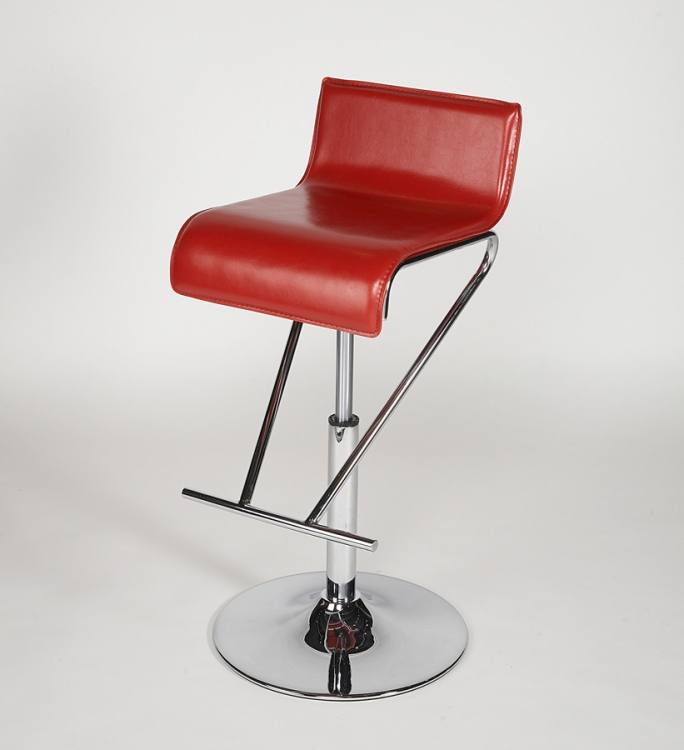 6122 Adjustable Height Swivel Stool - Red