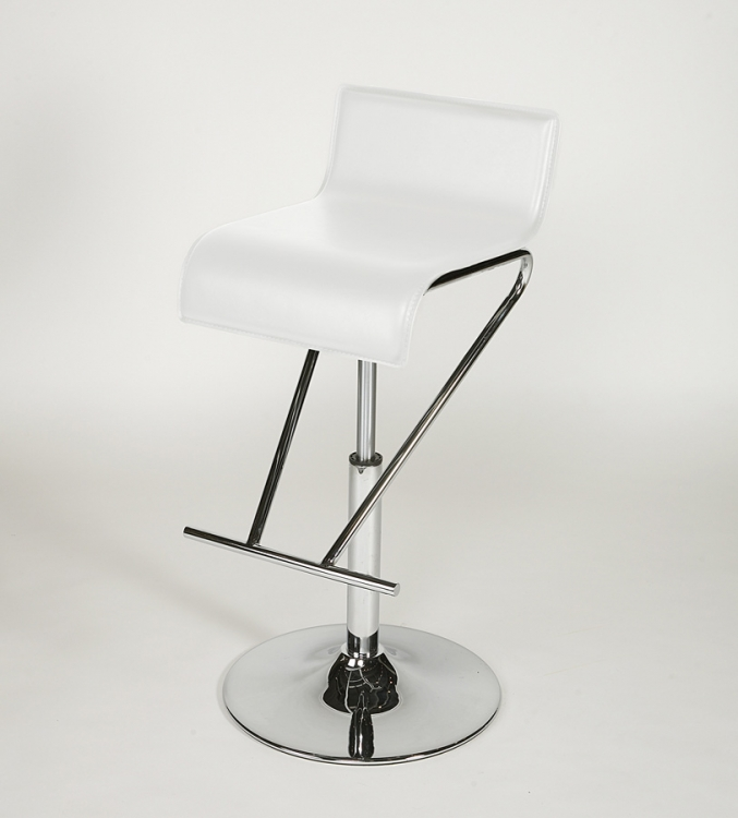 6122 Adjustable Height Swivel Stool - White - Chintaly Imports