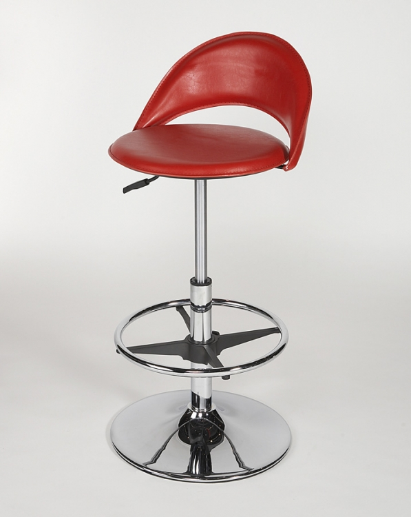 6126 Adjustable Height Swivel Stool - Red - Chintaly Imports