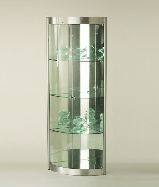 Contemporary Corner Curio with Mirrored Interior - Silver