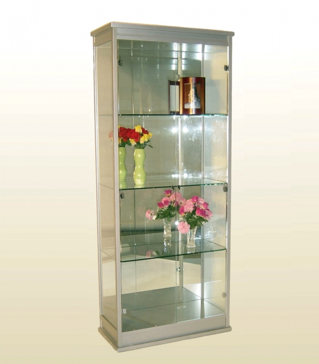 Wood and Glass Rectangular Curio - Chintaly Imports