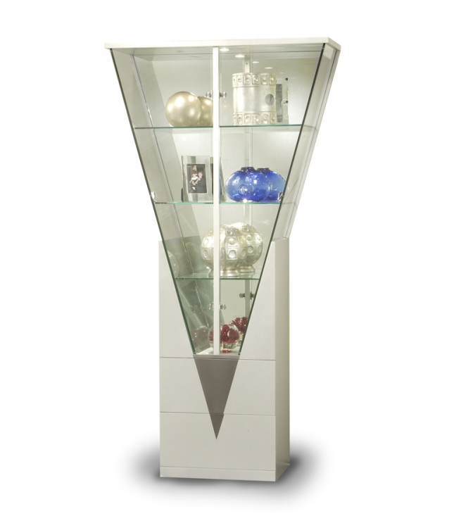 Triangular Curio with Mirrored Interior - Silver