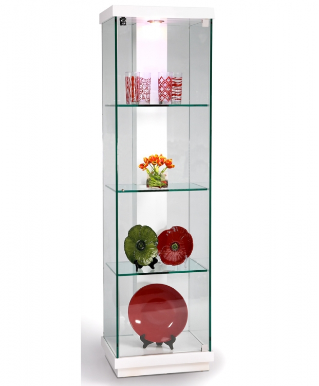 White Accent Glass Curio - Chintaly Imports