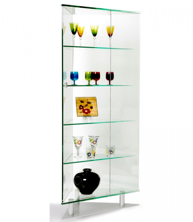 All Glass Triangle Curio - Chintaly Imports