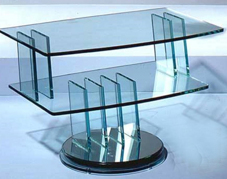 Swivel Tempered Glass TV Stand with Mirror Base - Chintaly Imports