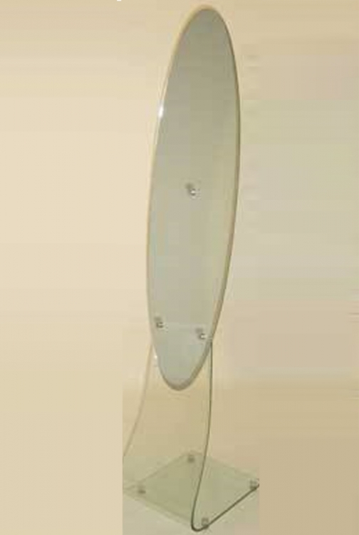Oval Mirror Glass Stand - Chintaly Imports