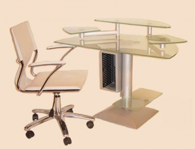 Computer Desk with Frosted Glass Top and Swivel Arm Chair Set - Chintaly Imports
