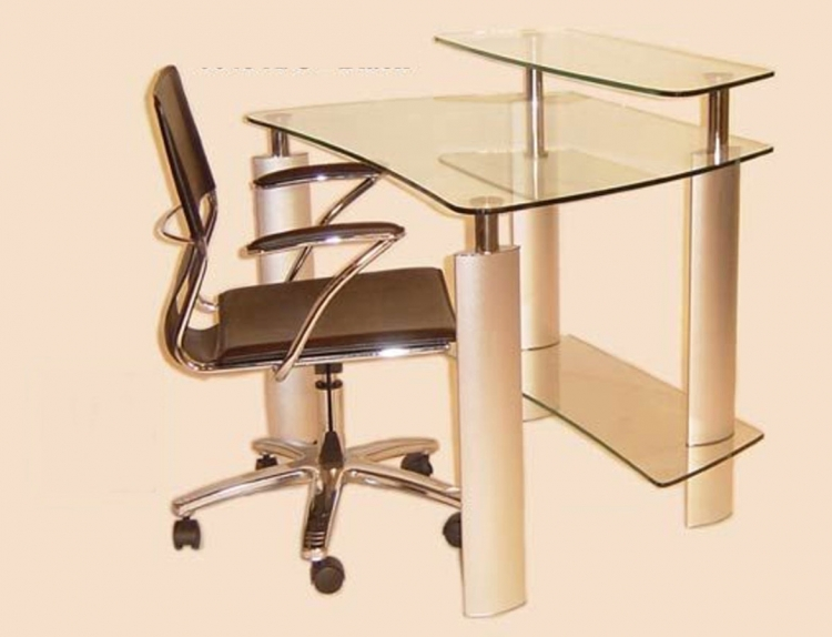 Computer Desk with Clear Glass Top and Swivel Arm Chair Set - Chintaly Imports