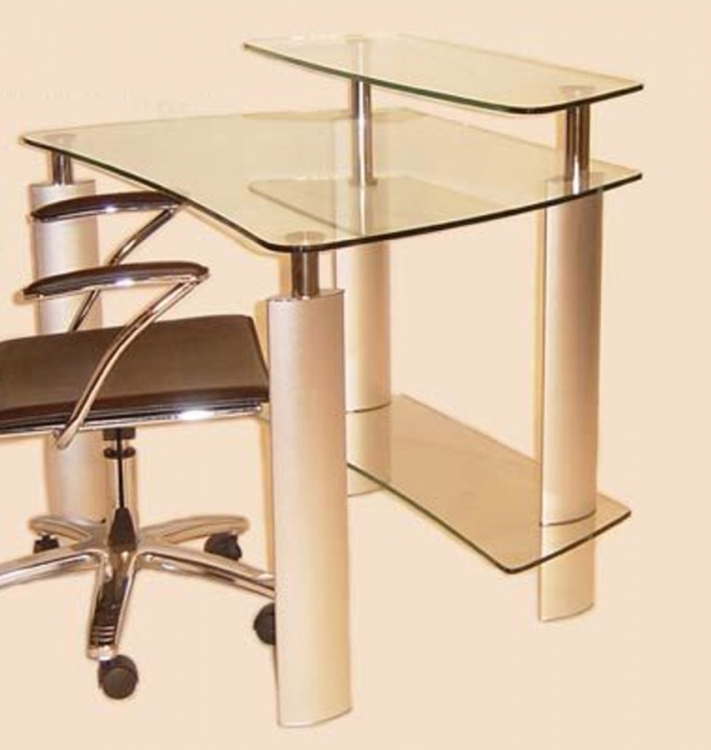 Computer Desk with Clear Glass Top - Chintaly Imports