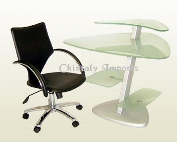 Frosted Glass Computer Desk with Arm Chair Set - Chintaly Imports