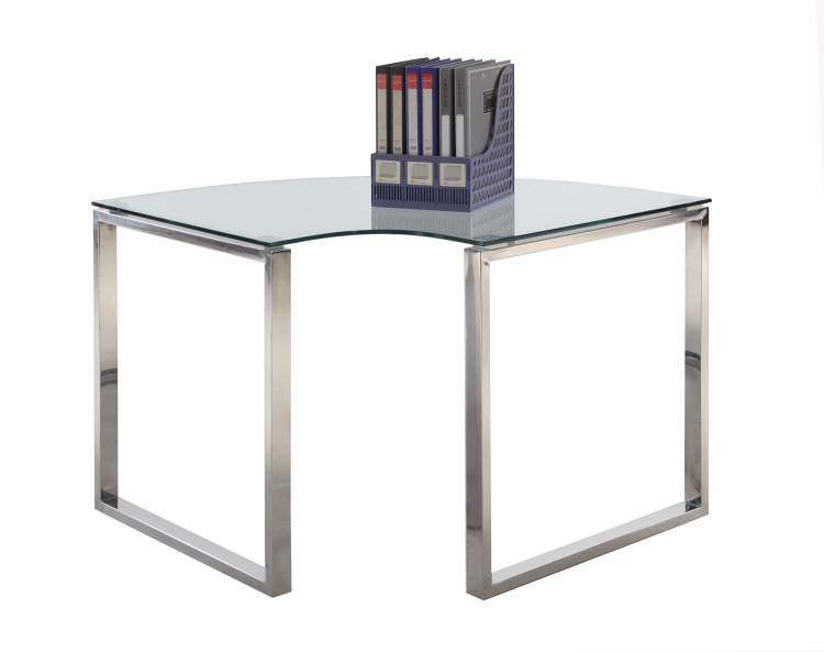 6931 Corner Computer Desk - Clear Glass/Stainless Steel