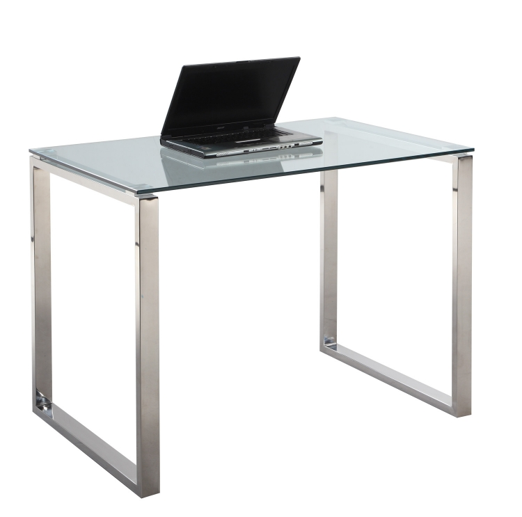 6931 Small Computer Desk Table - Clear Glass/Stainless Steel