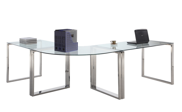 6931 Computer Desk Table - Clear Glass/Stainless Steel