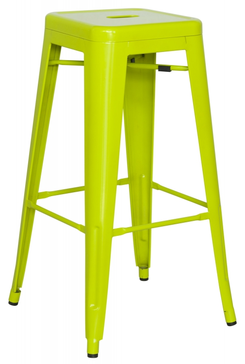 8015 Galvanized Steel Bar Stool - Lime Green