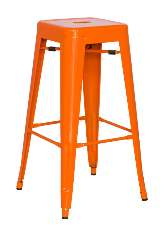 8015 Galvanized Steel Bar Stool - Orange