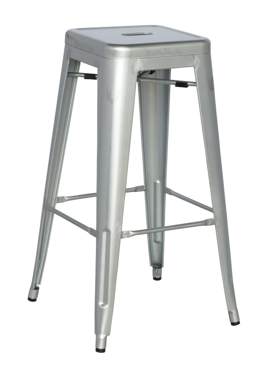 8015 Galvanized Steel Bar Stool - Shiny Silver