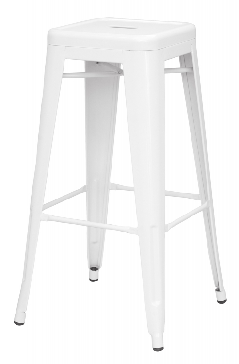 8015 Galvanized Steel Bar Stool - White