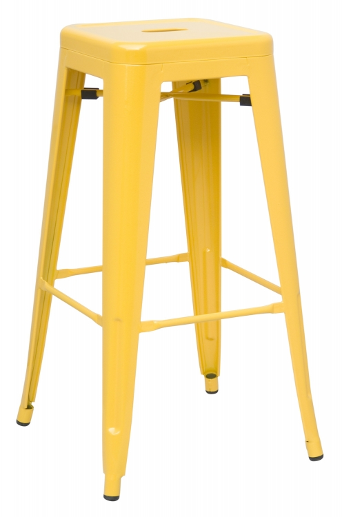 8015 Galvanized Steel Bar Stool - Yellow