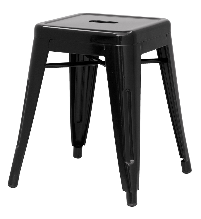 8018 Galvanized Steel Side Chair - Black