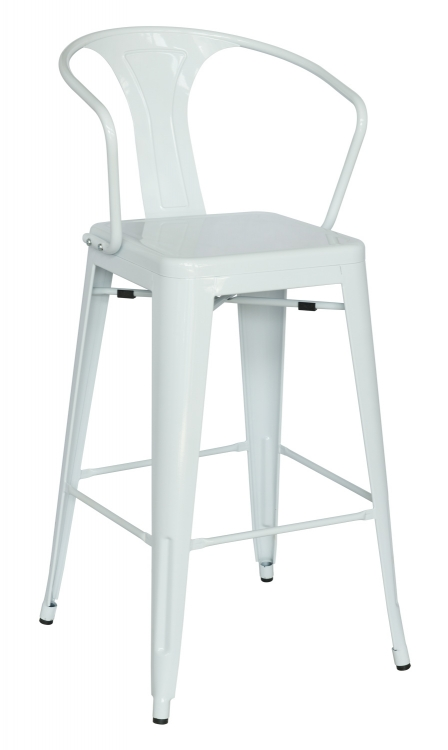 8020 Galvanized Steel Bar Stool - White