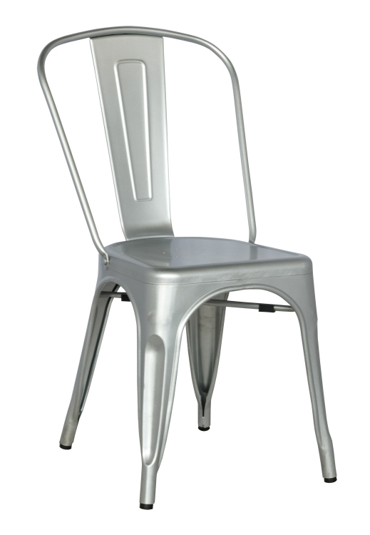 8022 Galvanized Steel Side Chair - Shiny Silver