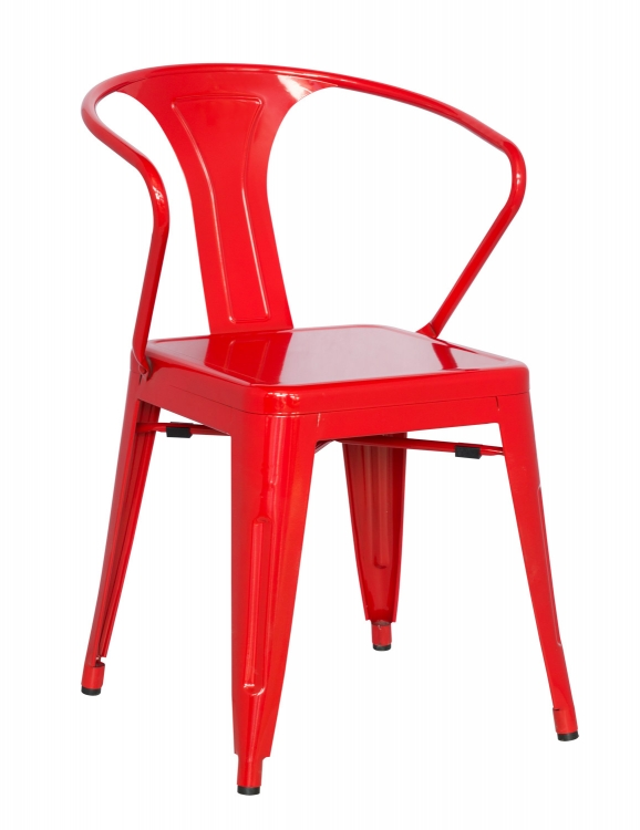 8023 Galvanized Steel Side Chair - Red
