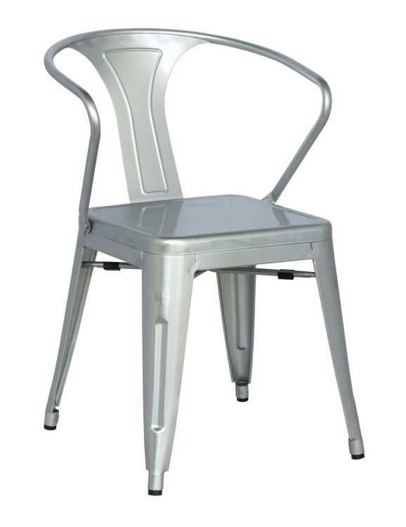 8023 Galvanized Steel Side Chair - Shiny Silver