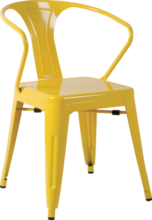 8023 Galvanized Steel Side Chair - Yellow