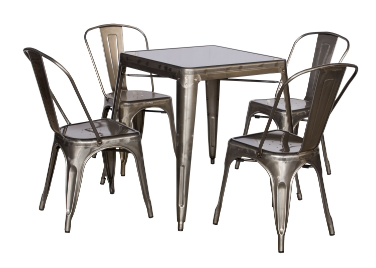 8029 Cold Roll Steel Dining Set - Gun Metal
