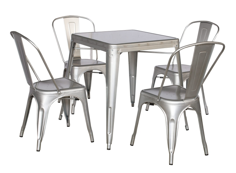 8029 Galvanized Steel Dining Set - Shiny Silver