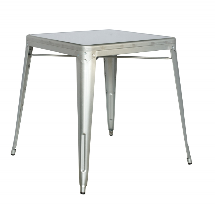 8029 Galvanized Steel Dining Table - Shiny Silver