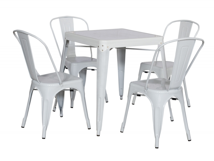 8029 Galvanized Steel Dining Set - White