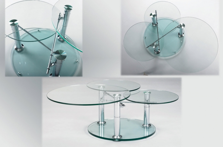 8049 Three Tier Motion Glass Cocktail Table
