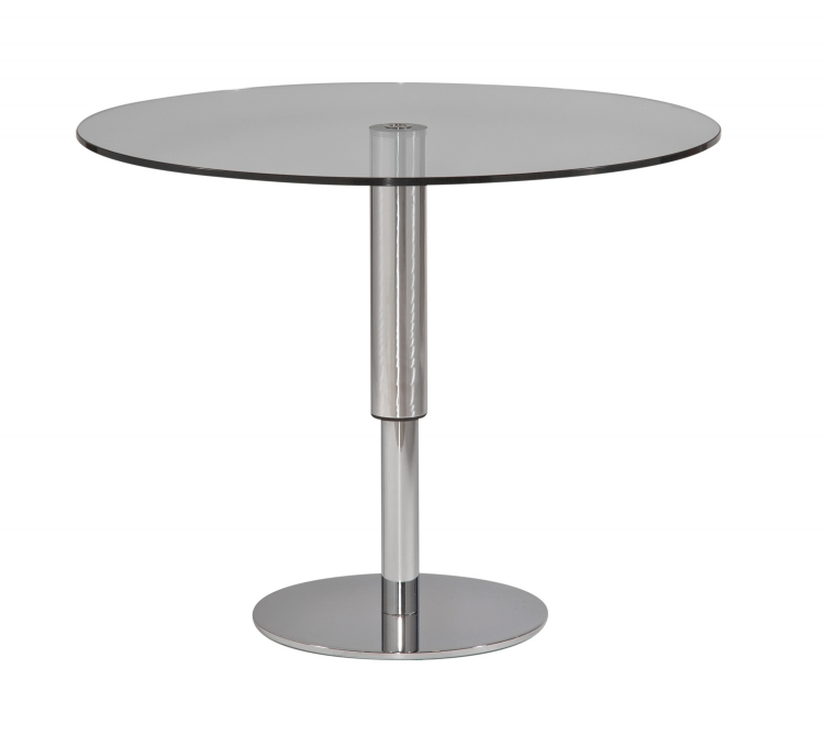 8129 Round Hi-Low Dining Table - Glass-Aluminum-Chrome