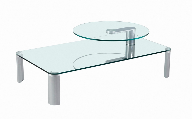 8158 Two Tier Motion Cocktail Table - Clear Glass/Satin Silver