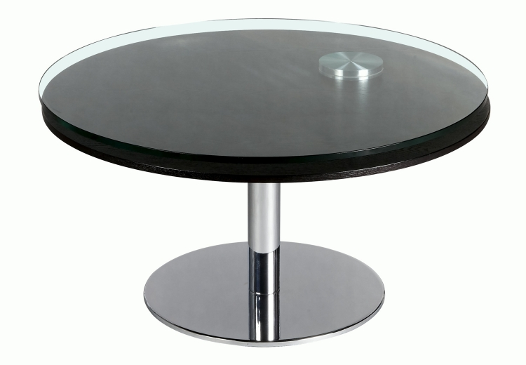 8176 Motion Cocktail Table - Clear Glass/Ash Veneer/Chrome
