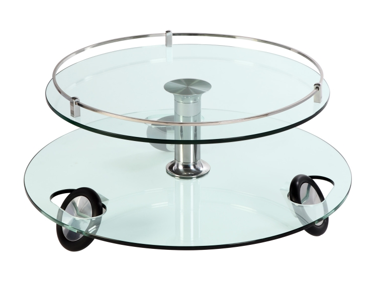 8178 Castered Cocktail Table - Clear Glass/Chrome