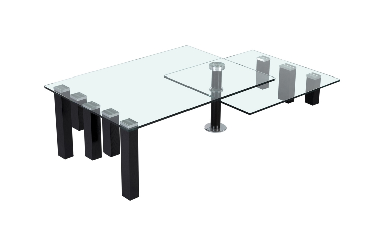 8179 Motion Cocktail Table - Clear Glass/Matt Red Wine