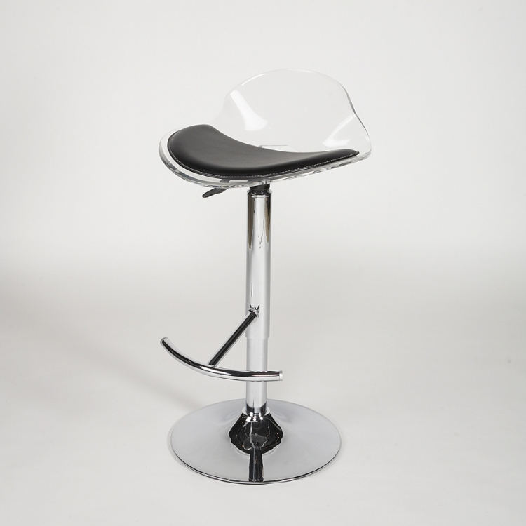 Acrylic Adjustable Height Swivel Stool - Clear - Chintaly Imports