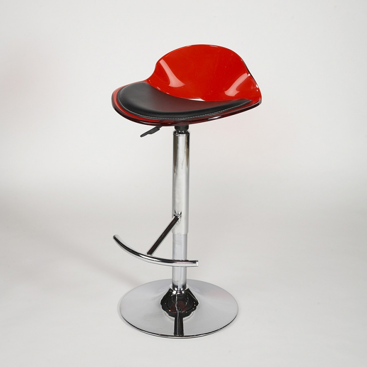 Acrylic Adjustable Height Swivel Stool - Red
