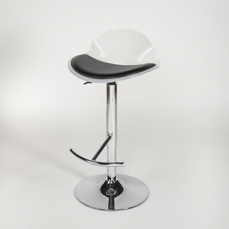 Acrylic Adjustable Height Swivel Stool - White - Chintaly Imports