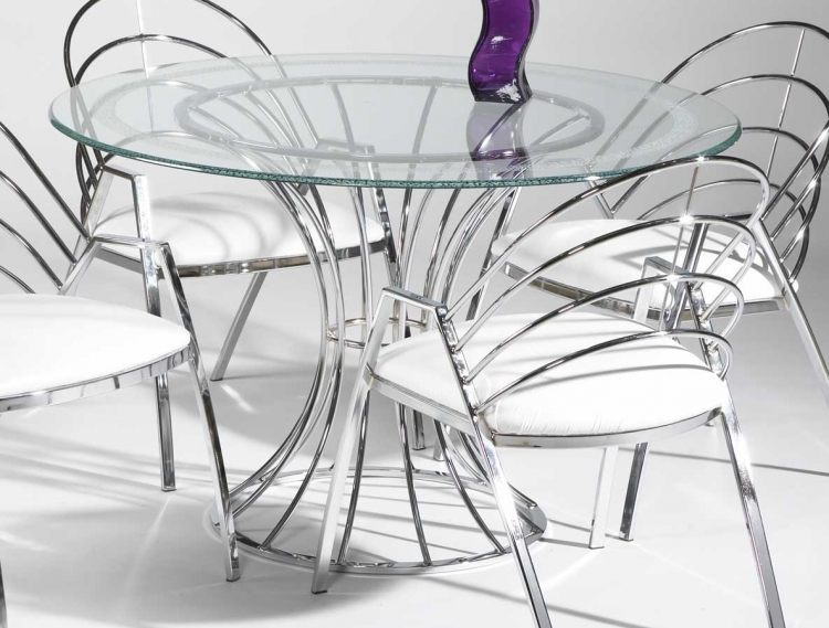 Anabel Round Table with Glass Top - Chintaly Imports