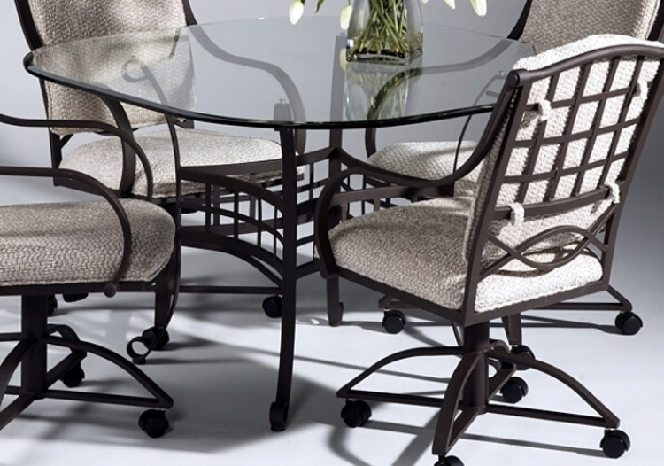 Anita Square Round Table with Glass Top