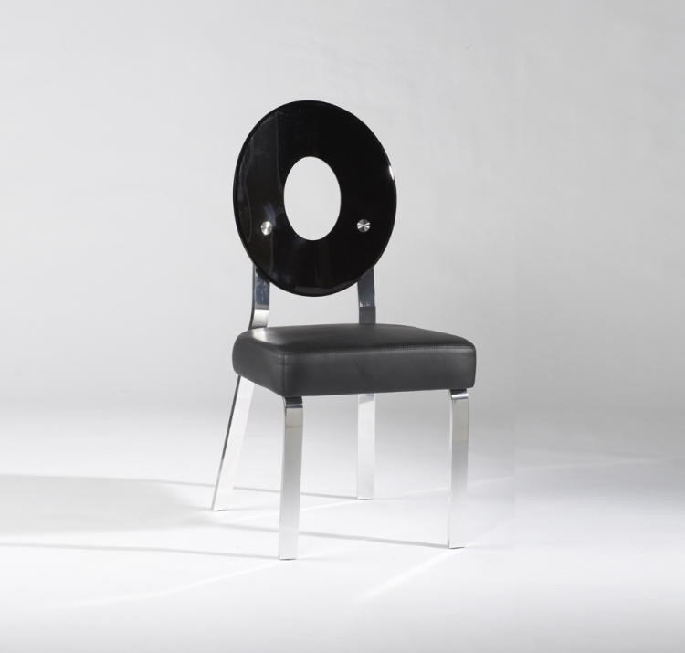 Candy Black Round Back Acrylic Side Chair