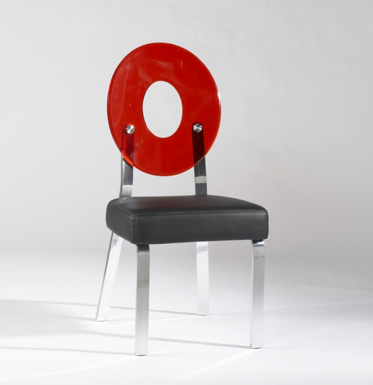 Candy Red Round Back Acrylic Side Chair