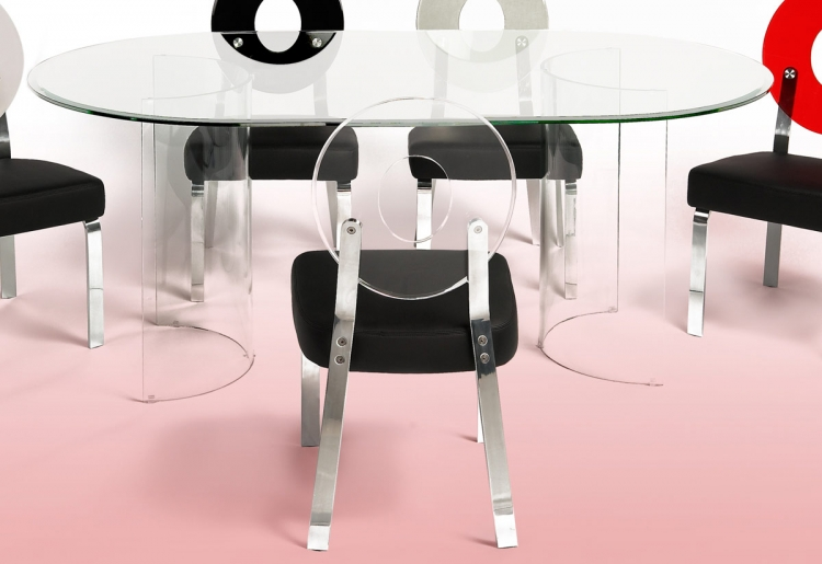 C Base Racetrack Oval Table with Glass Top