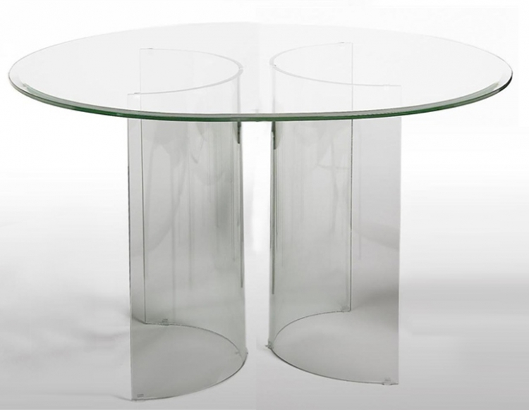 Chintaly Imports C Base Round Table with Glass Top