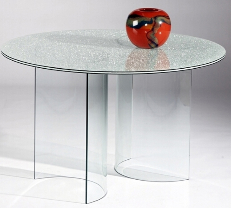 C Base Sandwich Table with Glass Top